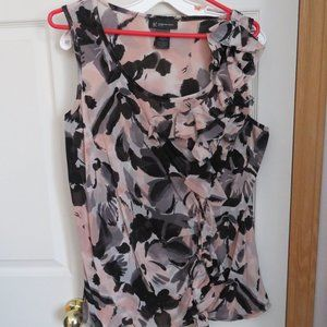 sleeveless top with ruffle front detail